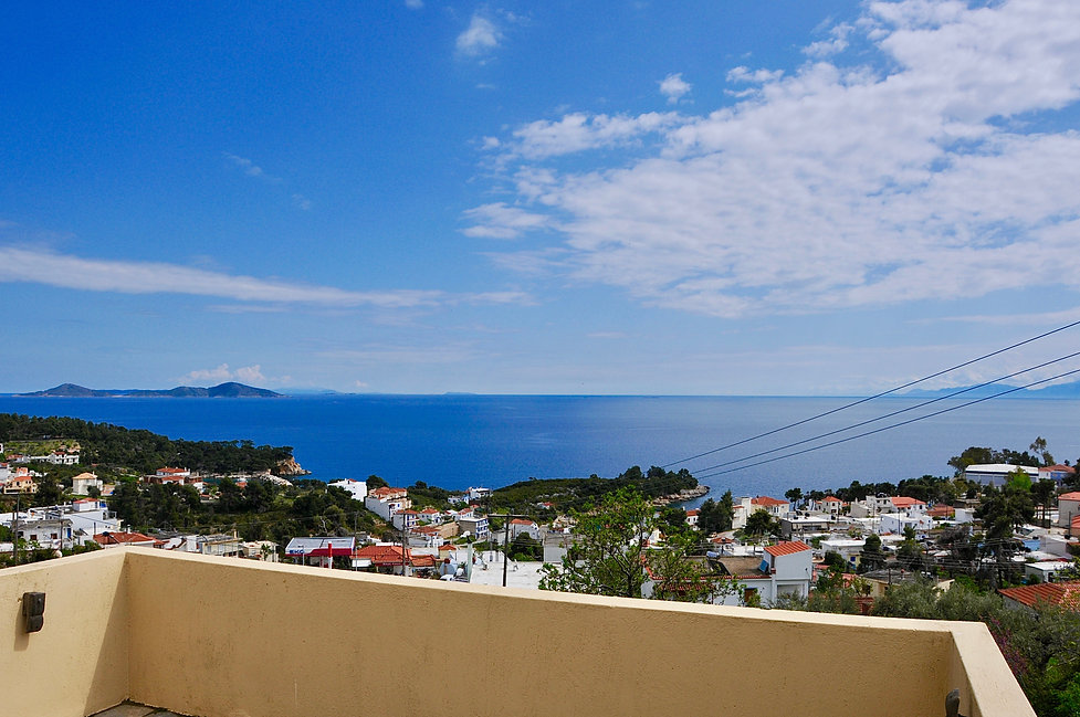 Stunning view from the top balcony, looking out towards the islands of 'The Two Brothers'.