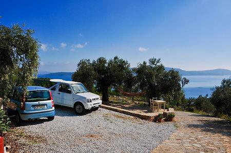 Car parking area of a villa with sea views.