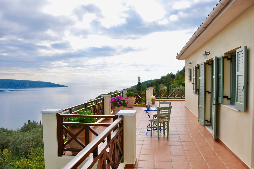 Large balcony with Aegean sea view.