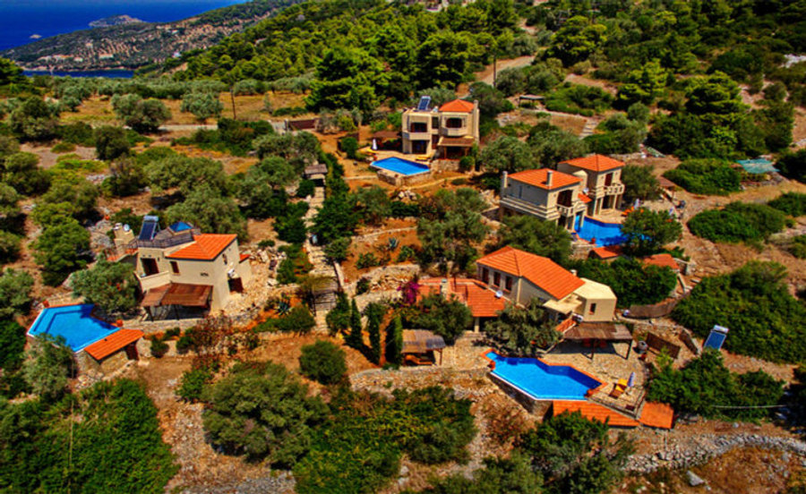Four luxury Greek villas with swimming pools.