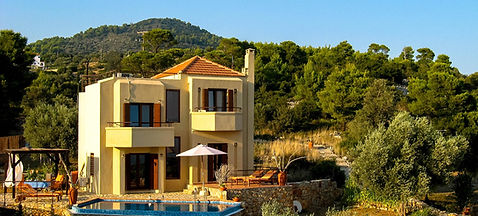 Luxury villa, pool surrounded by Greek countryside