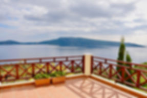 Balcony with sea view of the island of Peristera.