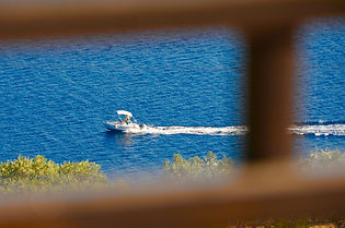 Speed boat in the blue sea.