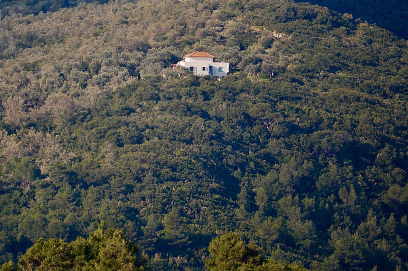 Alonissos white villa on hillside