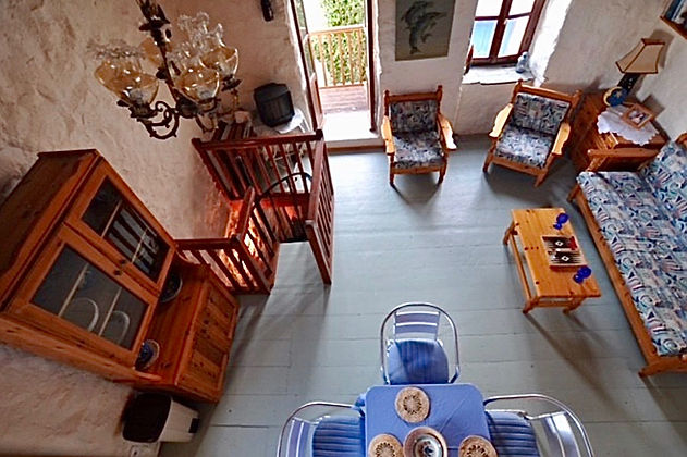 Aerial view of living room in townhouse
