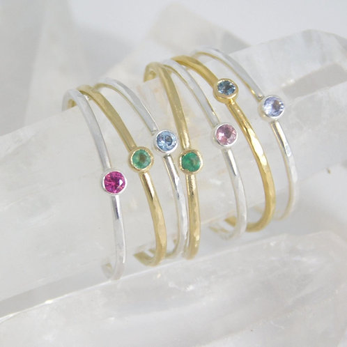 Dainty gemstone stacking rings