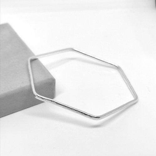 Hexagon Silver Bangle