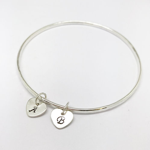 Silver Bangle with two initial charms
