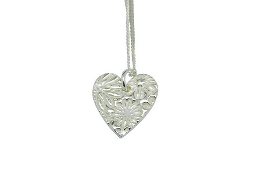 Floral Silver Heart Necklace