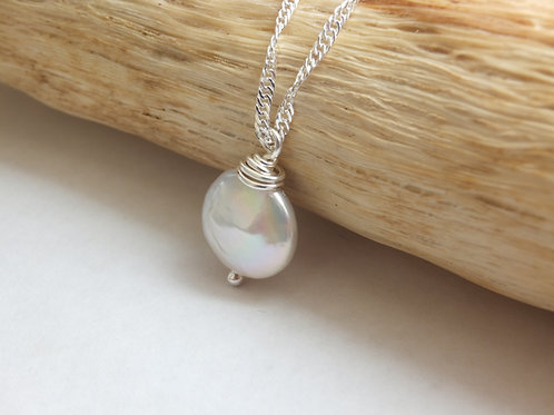 Freshwater Coin Pearl Necklacec