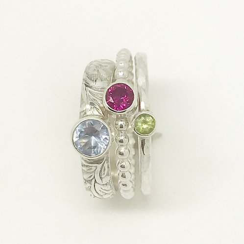 Chunky gemstone stacking rings