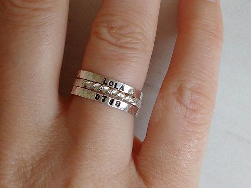 Personalised name stacking ring