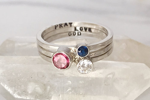 Personalised set of birthstone rings