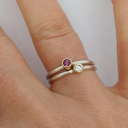 Gold Birthstone Stacking Ring