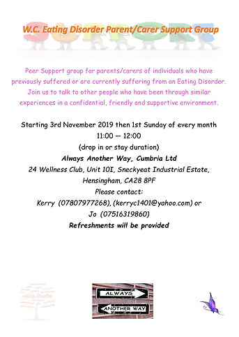 poster Eating Disorder Support group for