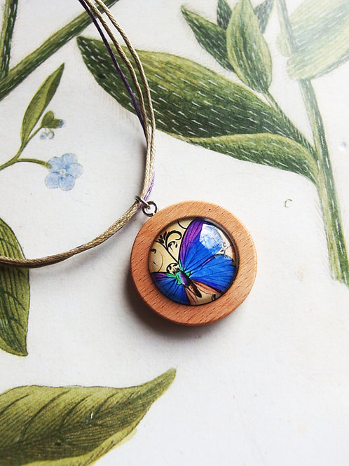 Halskette mittel Schmetterling blau/lila