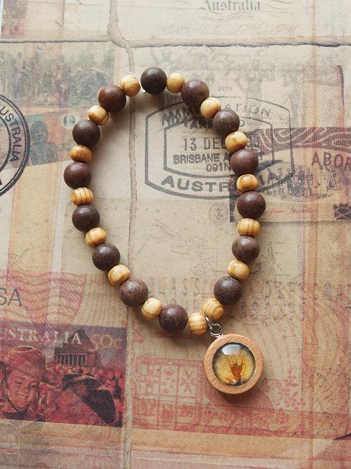 Holz- und Edelsteinarmband Hortensie Blatt braun