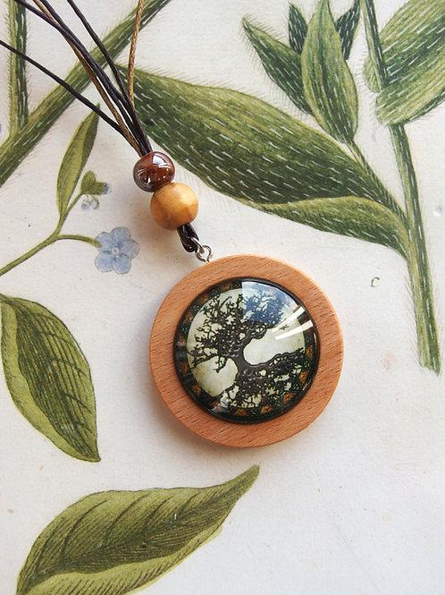 Halskette lang Lebensbaum grau