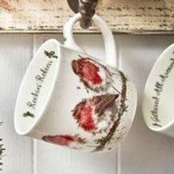Wrendale design Royal Worcester Tasse Rotkehlchen Weihnachten