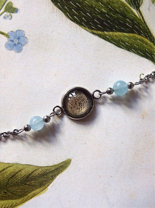 Armband Edelstahl Hortensie Blatt blau