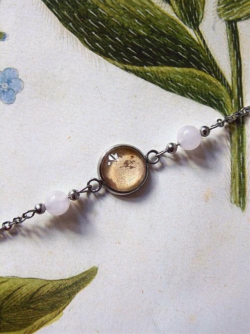 Armband Edelstahl Hortensie Blatt rosa