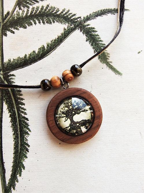 Halskette mittel Lebensbaum grau