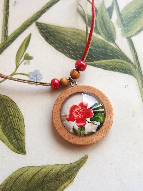 Halskette groß Blume rot