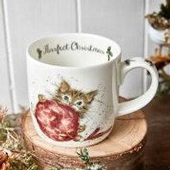 Wrendale design Royal Worcester Tasse Katze Weihnachten