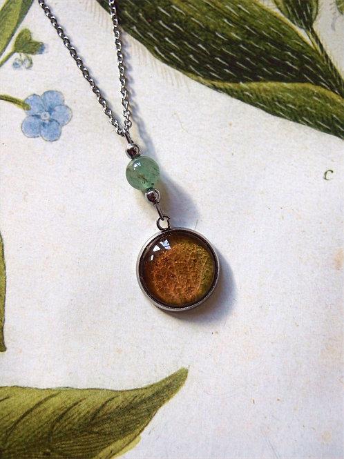 Set Hortensie Blatt grün: Halskette und Ohrringe