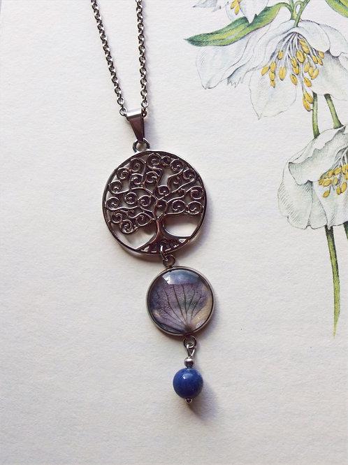 Halskette  Lang Lebensbaum Hortensie dunkelblau
