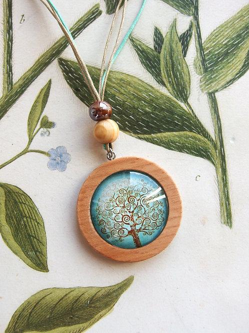 Halskette lang Lebensbaum hellblau