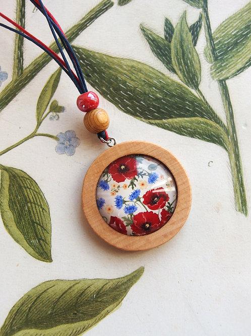 Halskette lang Mohn- und Kornblumen