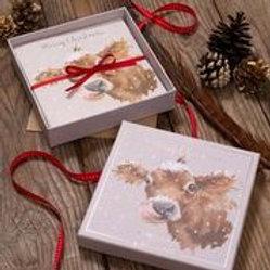 Wrendale Designs Luxus Weihnachtskarten im Schachtel Kuh
