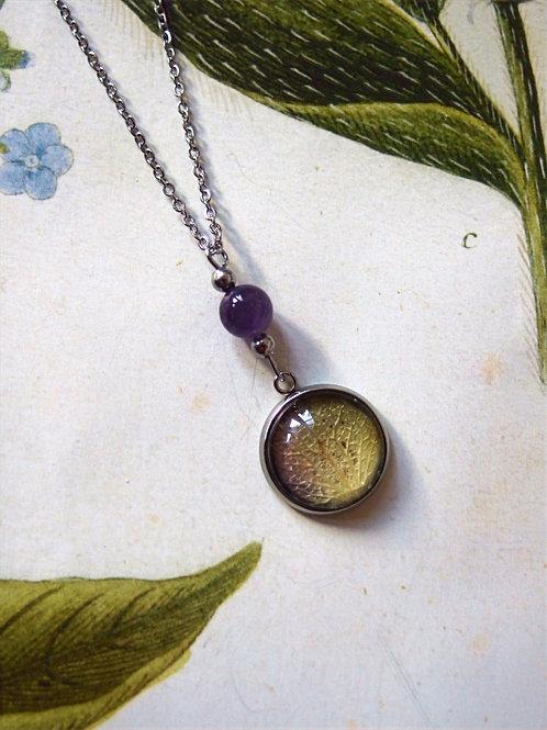 Set Hortensie Blatt violet: Halskette und Armband