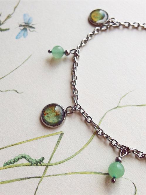 Fußkette Hortensie Blatt grün
