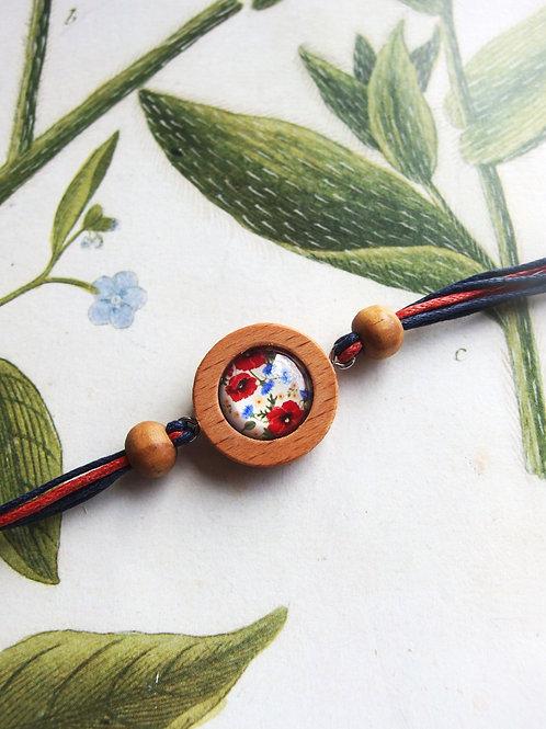 Armband Mohn- und Kornblumen