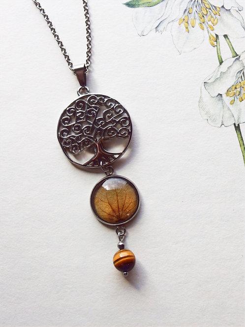 Halskette lang Lebensbaum Hortensie braun