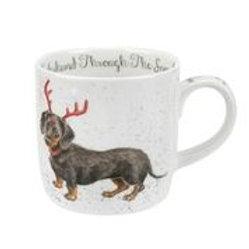 Wrendale design Royal Worcester Tasse Dachshund Weihnachten