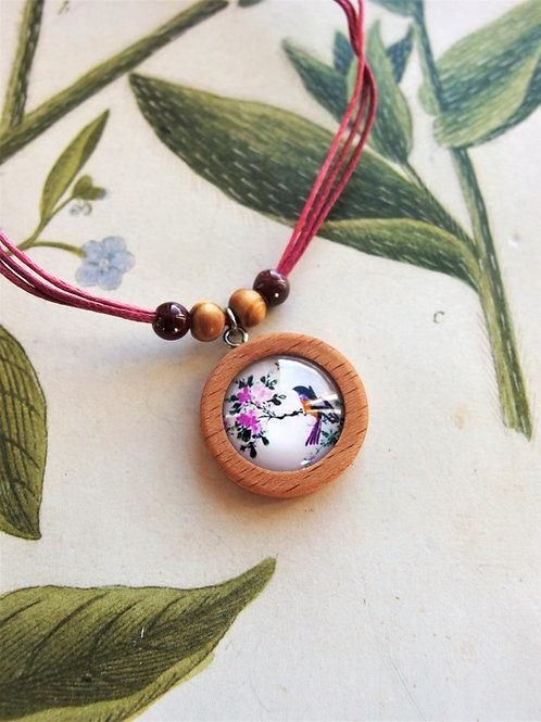 Halskette klein Vögel Blüten