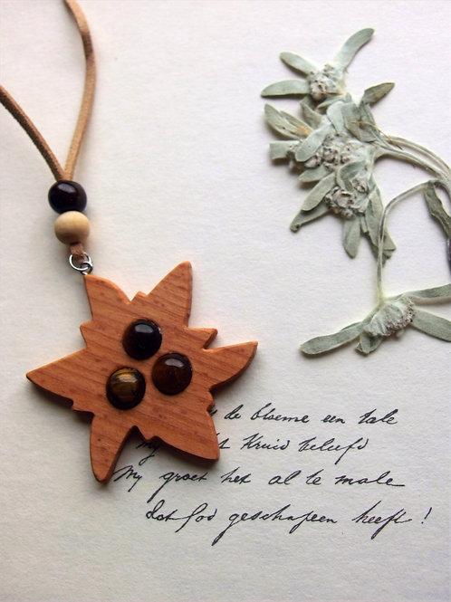 Halskette lang Edelweiß Holz braun