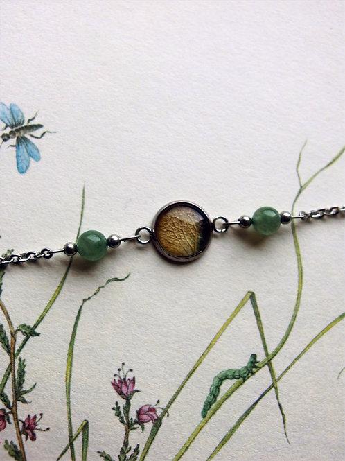 Armband Edelstahl Hortensie Blatt grün