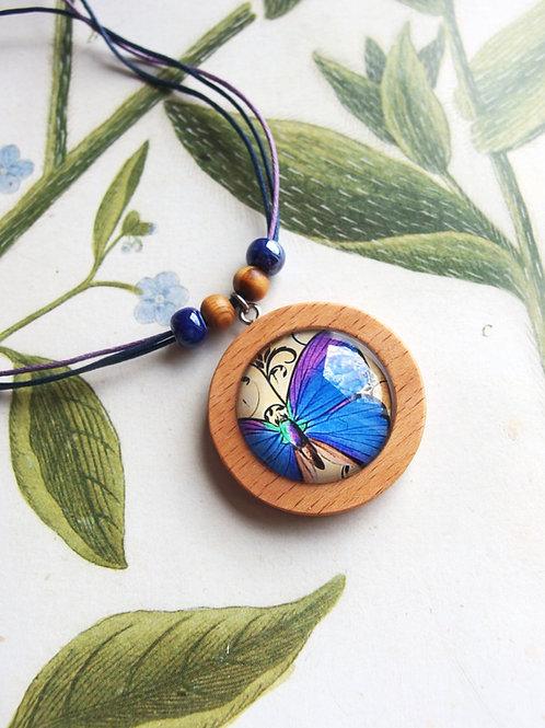 Halskette groß Schmetterling Blau/lila