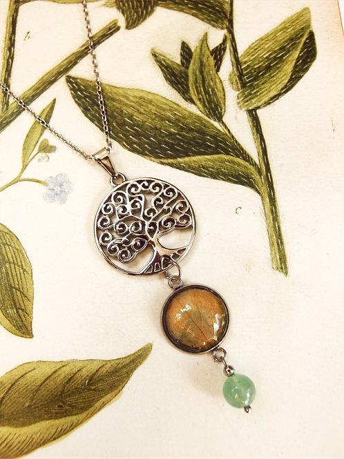 Halskette lang Lebensbaum Hortensie grün