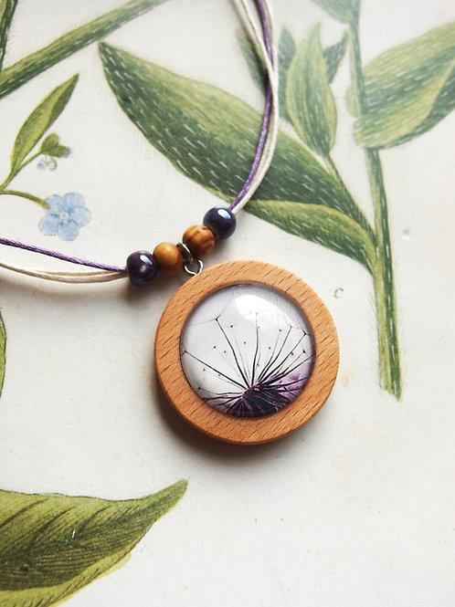 Halskette groß Pustenblume lila