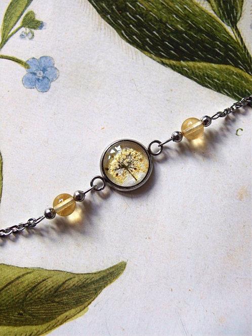Armband Edelstahl Doldenblüte weiß