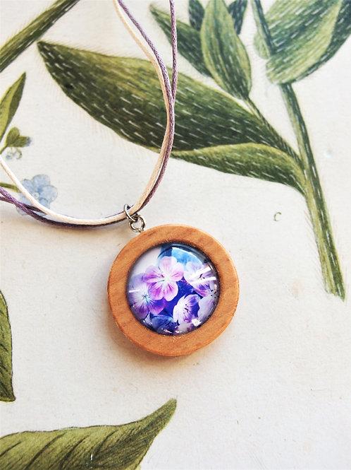 Halskette mittel Blumen lila