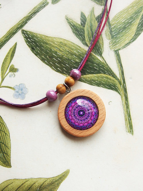 Halskette mittel Mandala Violet