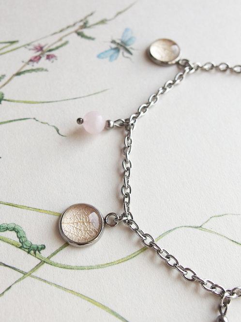 Fußkette Hortensie Blatt rosa