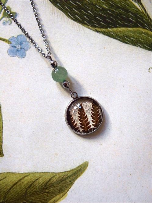 Halskette Edelstahl Farn grün