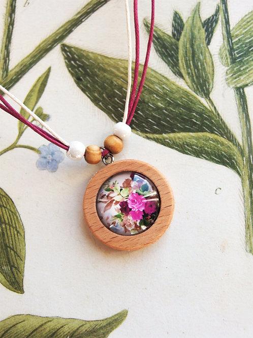 Halskette mittel Blumenstrauß Fuchsia